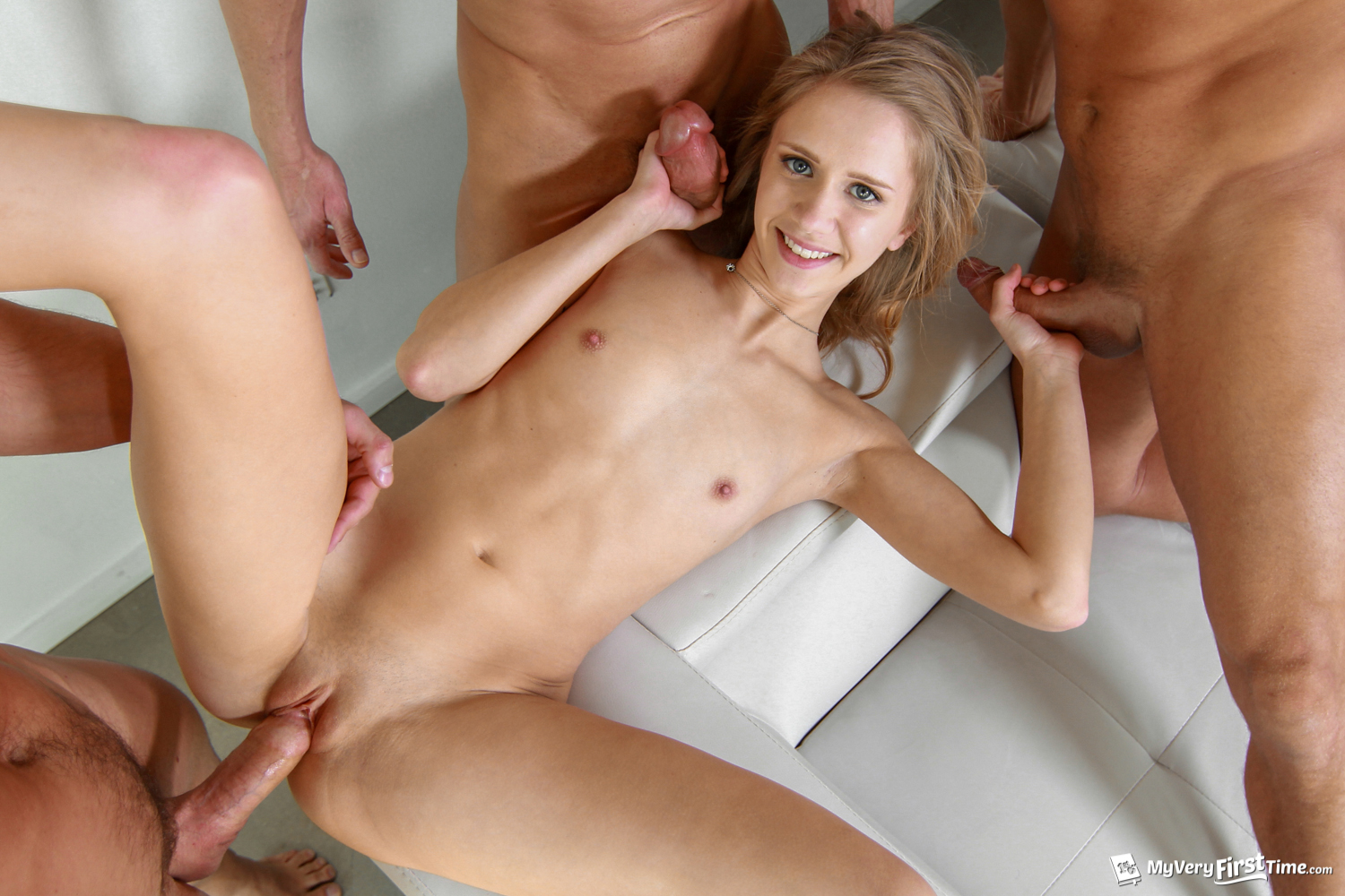 Very hot blonde gets great anal and facials by 2 lucky dudes 10
