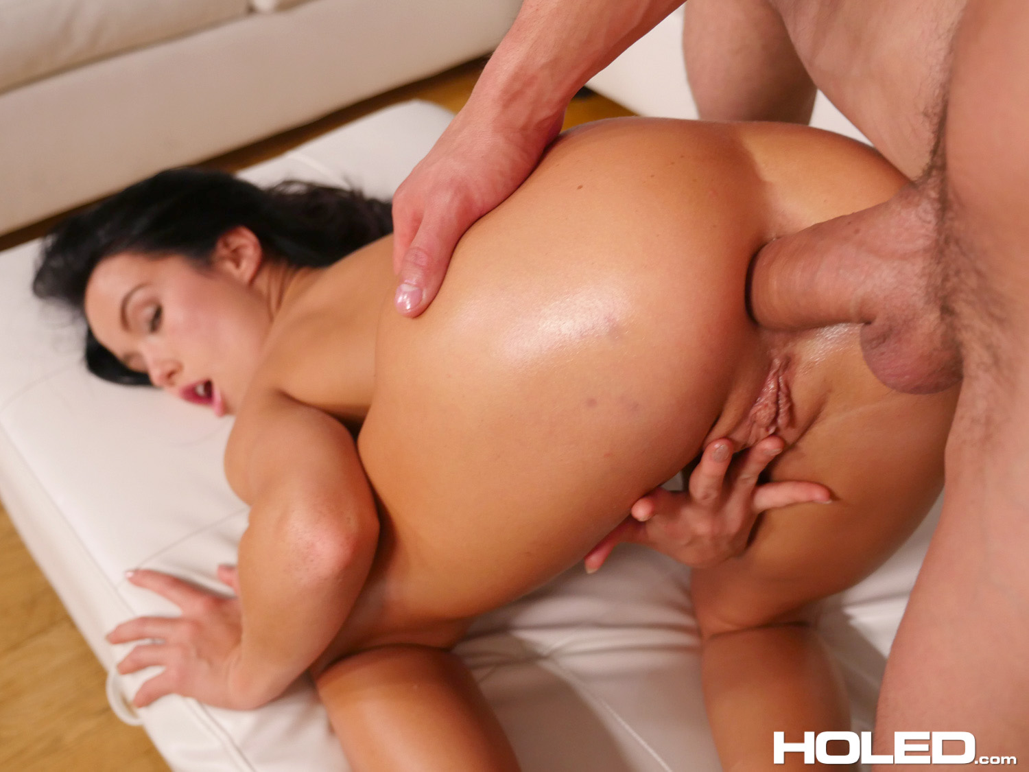 Curvy brunette gets deep ass fuck 7
