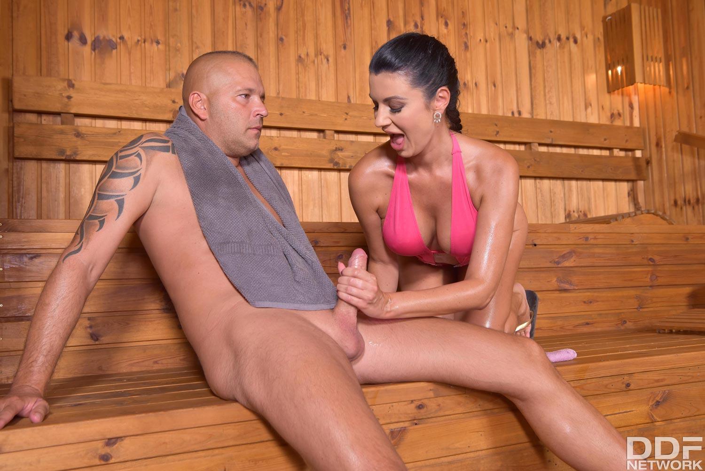 Sauna cumshot